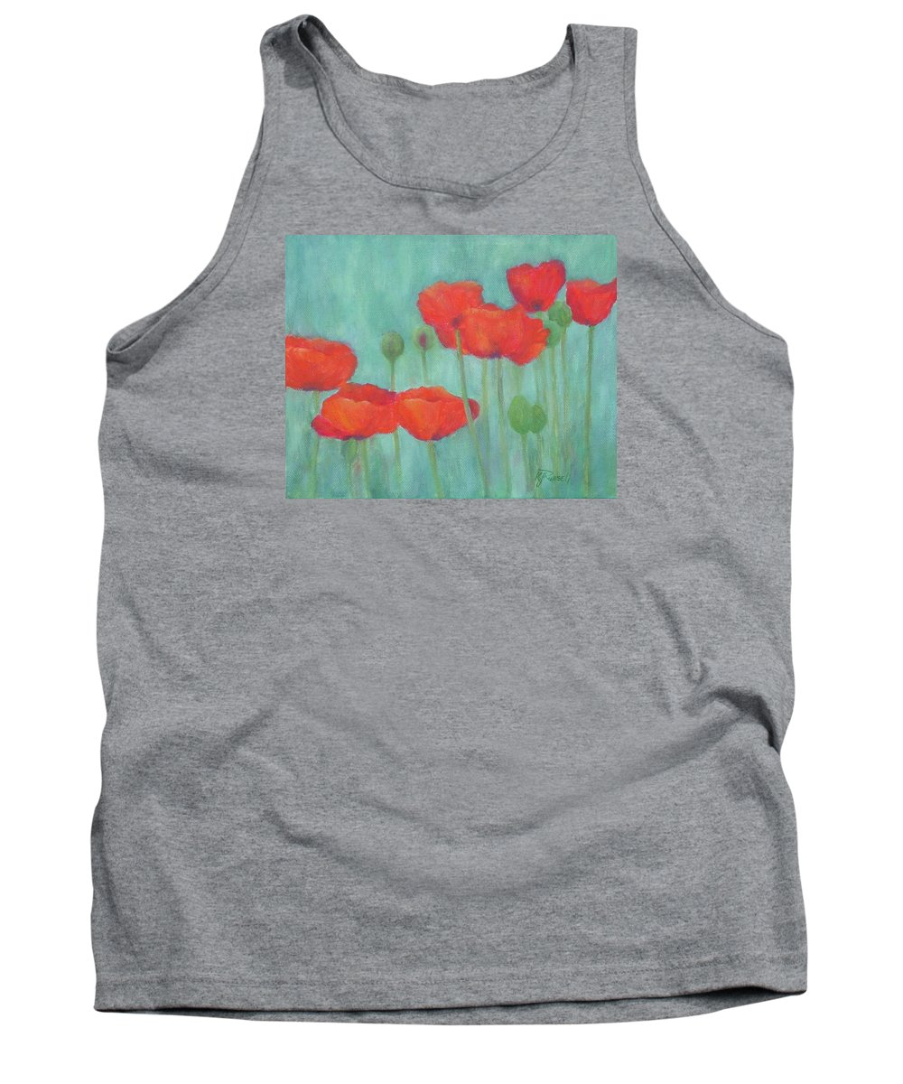 Red Poppies Tank Top featuring the painting Red Poppies Colorful Poppy Flowers Original Art Floral Garden by K Joann Russell