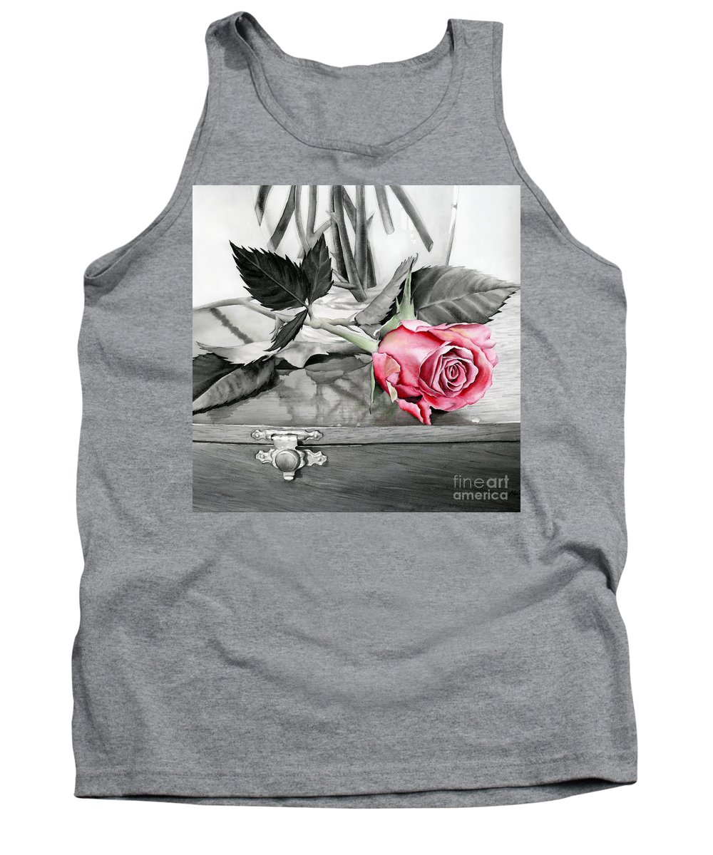 Rose Tank Top featuring the painting Red Rosebud by Hailey E Herrera