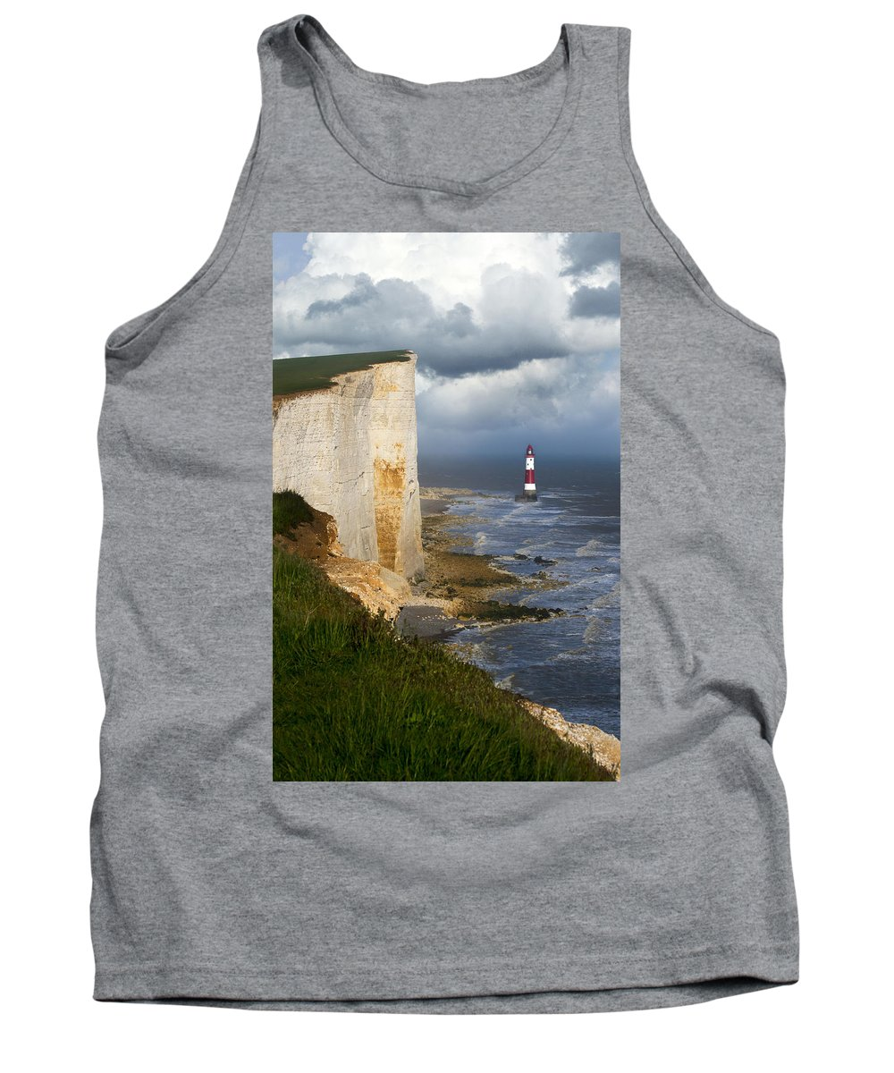 Eastbourne Tank Top featuring the photograph White Cliffs And Red-white Striped Lightouse In The Sea by Jaroslaw Blaminsky