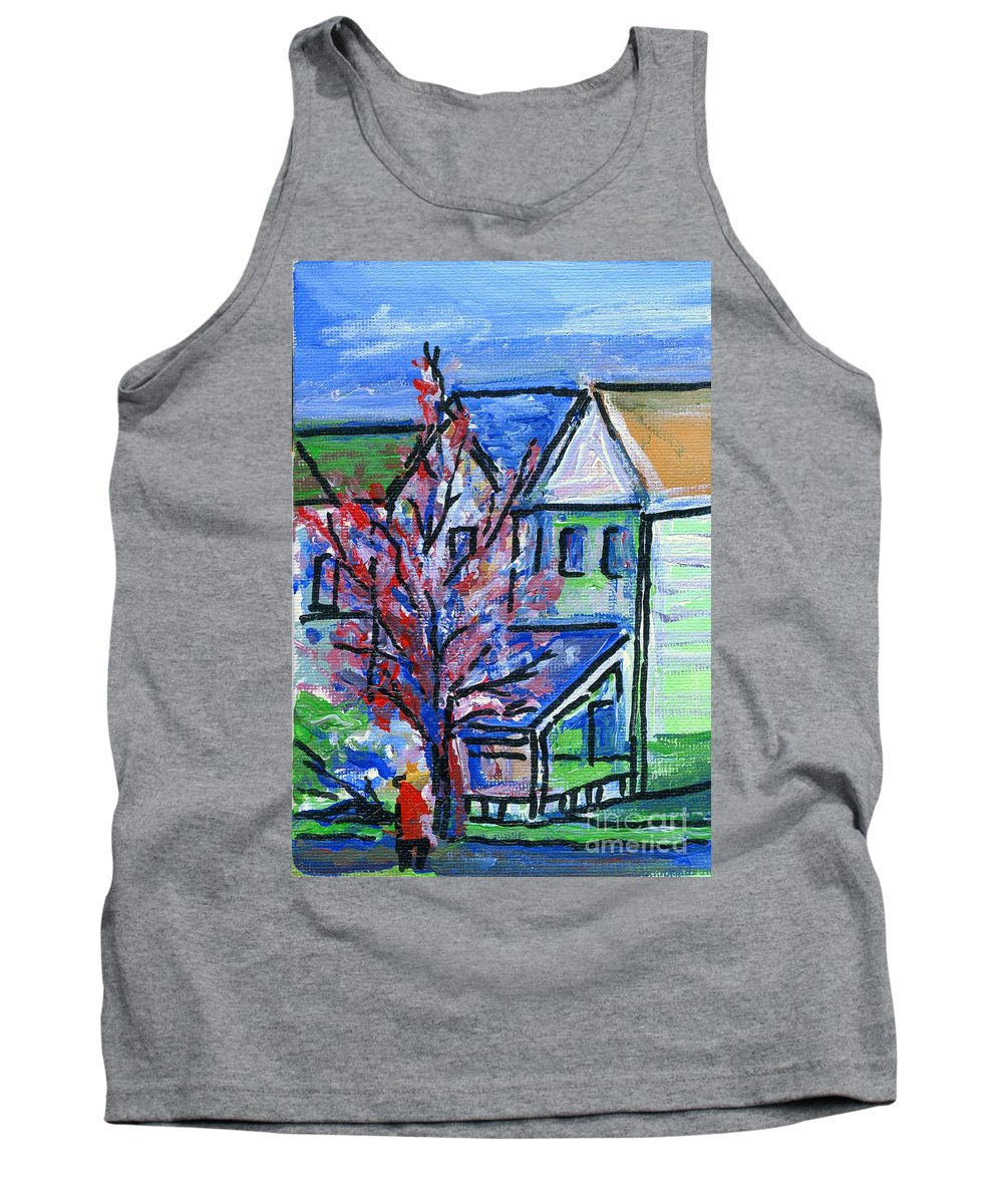 Redbud Tree Tank Top featuring the painting Redbud Tree At West Cape May by Eric Schiabor