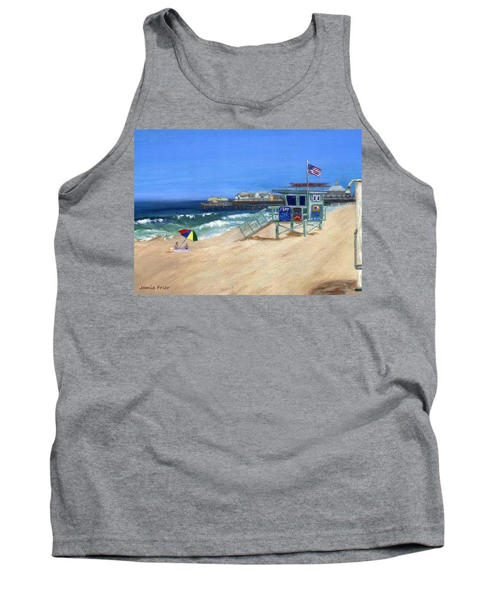 Redondo Beach Tank Top featuring the painting Redondo Beach Lifeguard by Jamie Frier