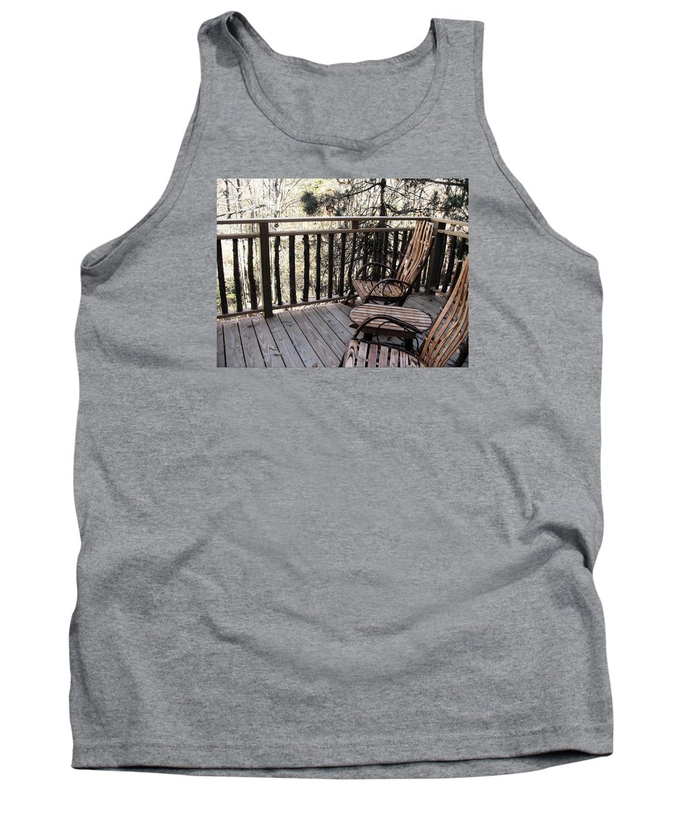 Cabin Tank Top featuring the photograph Relaxing In The Woods by Wendy Gertz