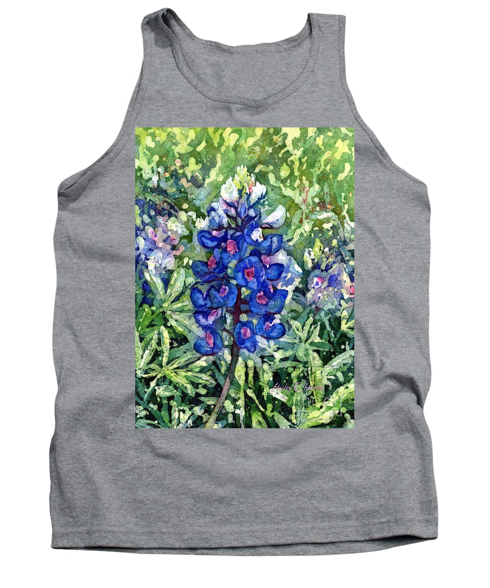 Bluebonnet Tank Top featuring the painting Rhapsody In Blue by Hailey E Herrera