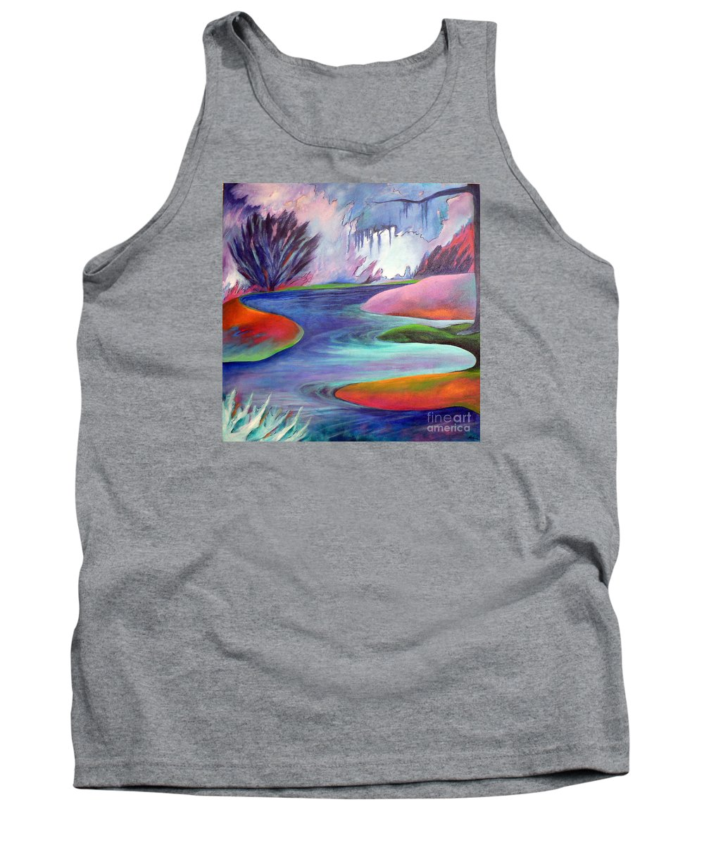 Landscape Tank Top featuring the painting Blue Bayou by Elizabeth Fontaine-Barr