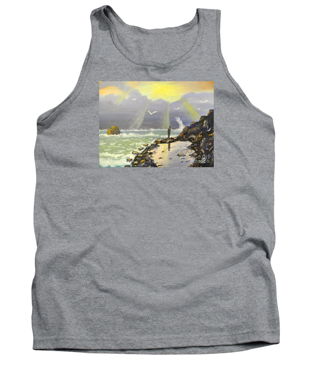 Impressionism Tank Top featuring the painting Rock Fishing At Wombarra by Pamela Meredith