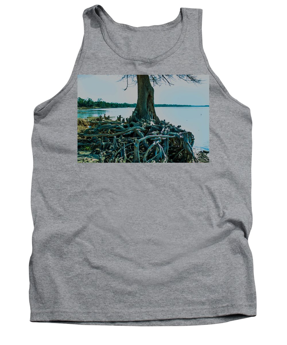 Trees Tank Top featuring the photograph Roots On The Bay by Mechala Matthews