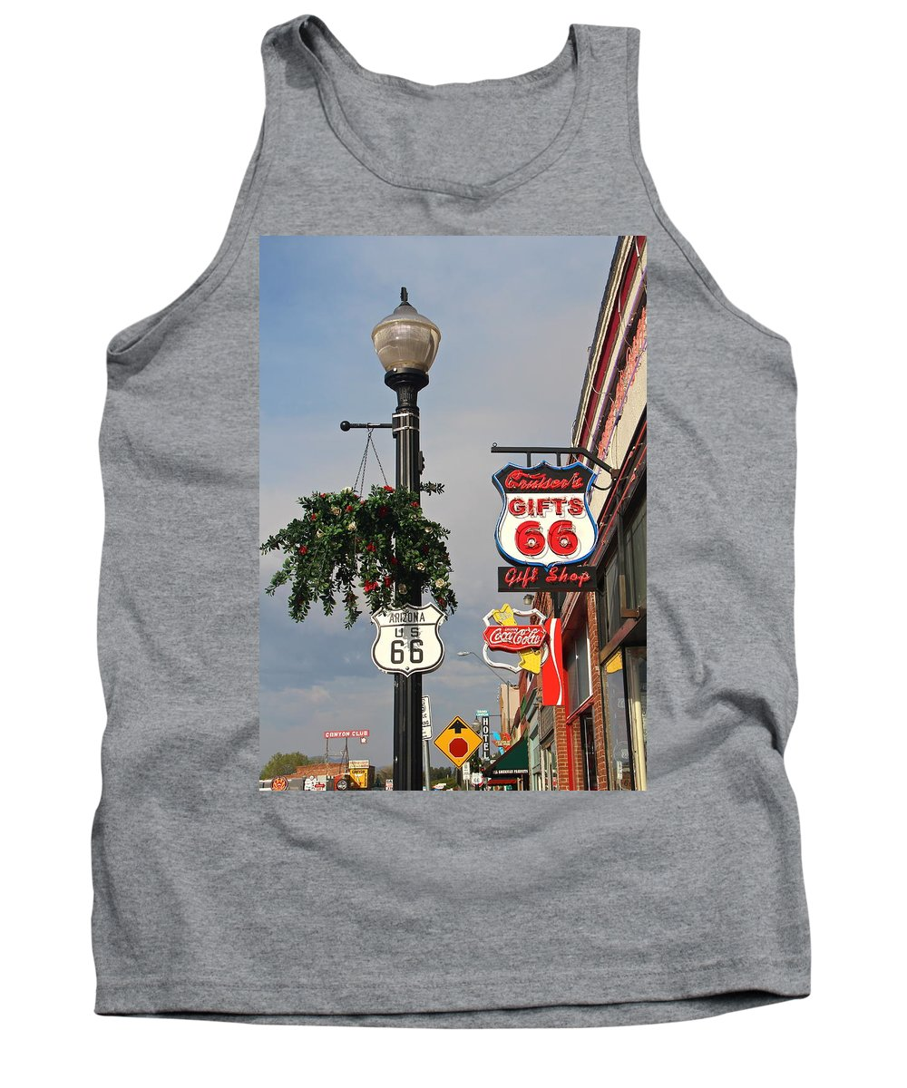 Route 66 Tank Top featuring the photograph Route 66 In Williams Arizona by Denise Mazzocco