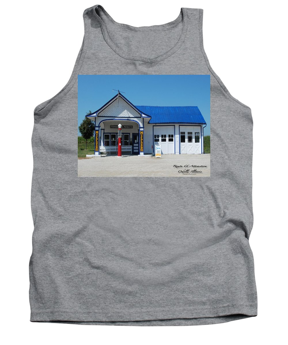 Route 66 Odell Il Gas Station Tank Top featuring the photograph Route 66 Odell Il Gas Station 01 by Thomas Woolworth