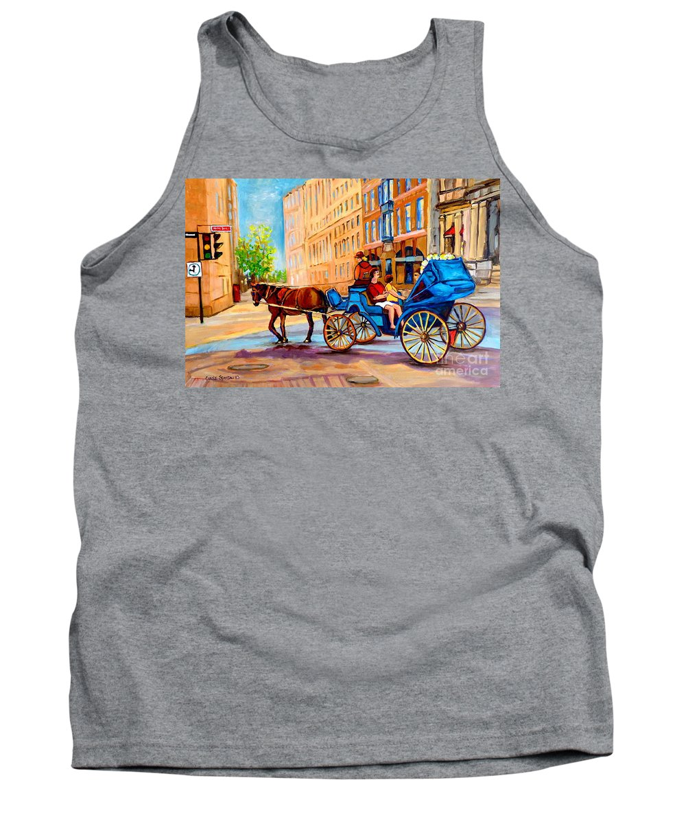 Rue Notre Dame Tank Top featuring the painting Rue Notre Dame Caleche Ride by Carole Spandau