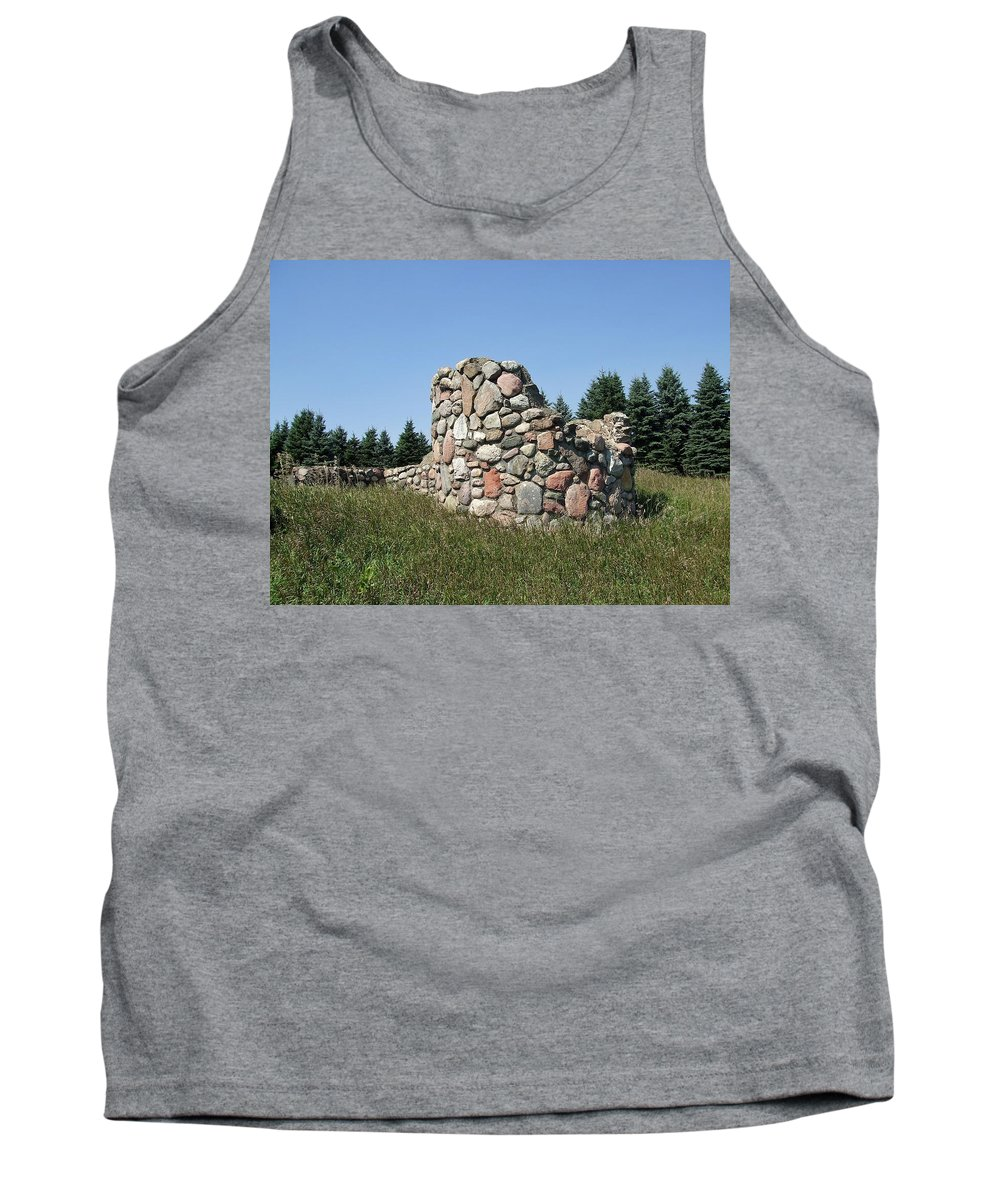 Round Tank Top featuring the photograph Ruins Of A Stone Silo by Susan Wyman