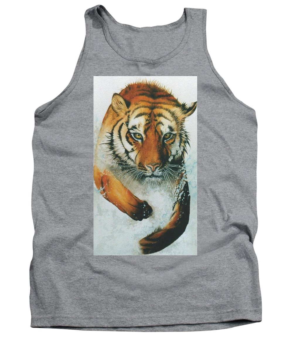 Tiger Tank Top featuring the painting Running Tiger by Alan Pickersgill