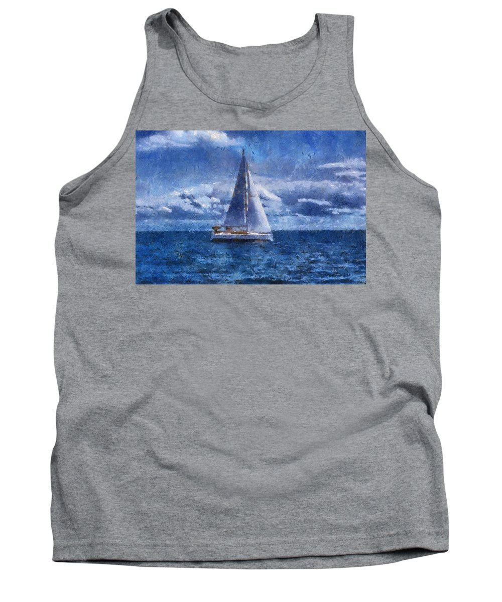 Sea Tank Top featuring the photograph Sail Boat Photo Art 02 by Thomas Woolworth