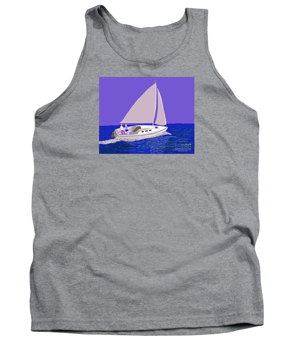 Sailboat Tank Top featuring the painting Sailing Blue Ocean by Fred Jinkins