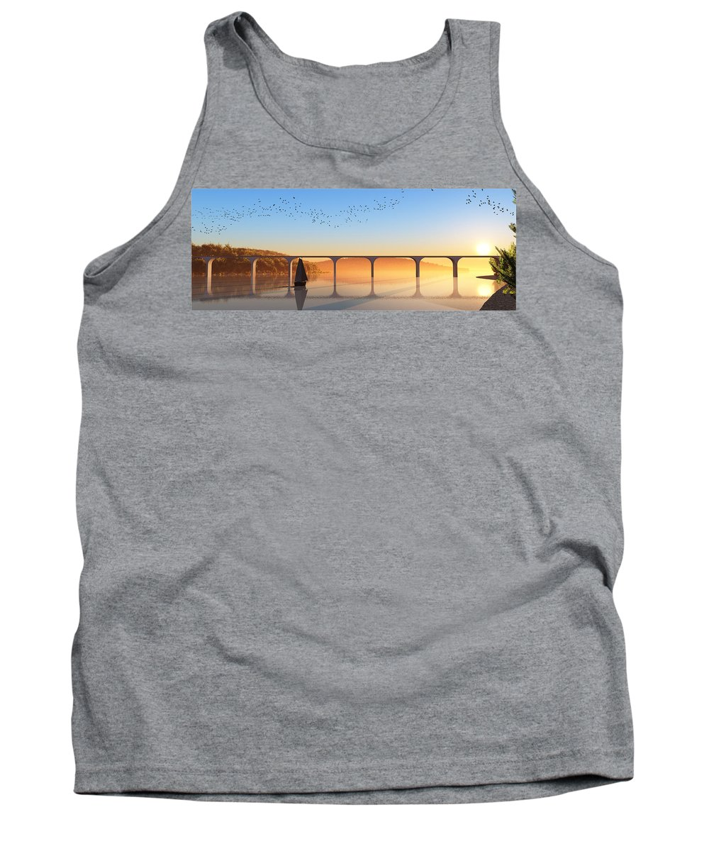 Seascape Tank Top featuring the digital art Sailing Out To Sea... by Tim Fillingim