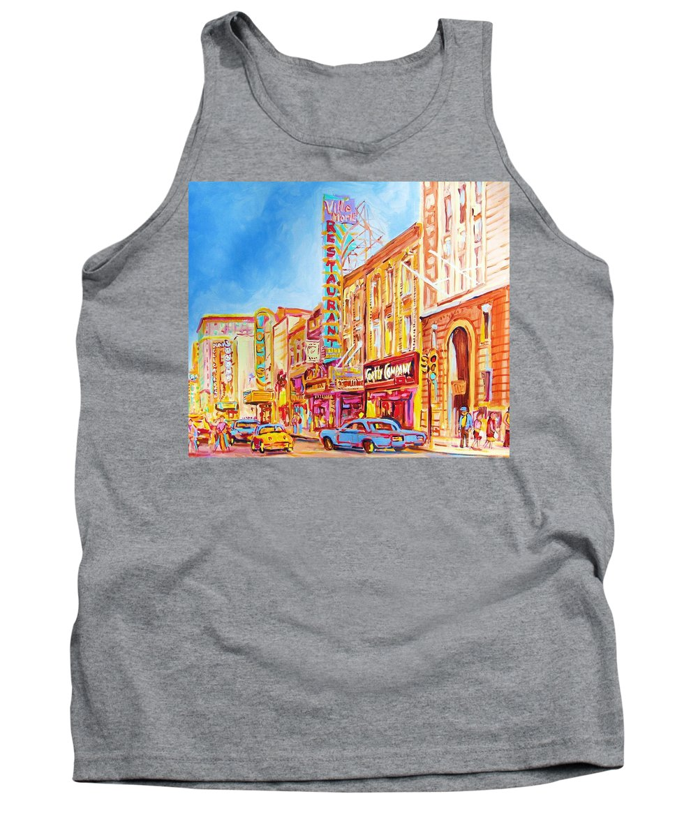 Paintings Of Montreal Tank Top featuring the painting Saint Catherine Street Montreal by Carole Spandau