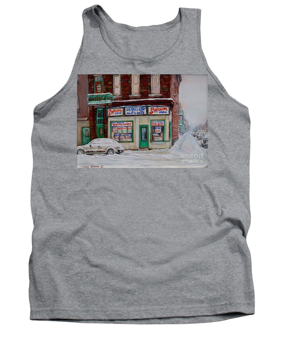 Montreal Tank Top featuring the painting Salaison Ideale Montreal by Carole Spandau