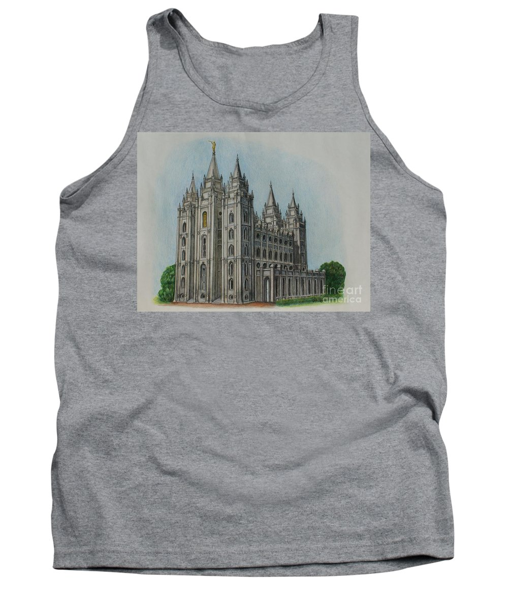 Lds Tank Top featuring the drawing Salt Lake City Temple I by Christine Jepsen