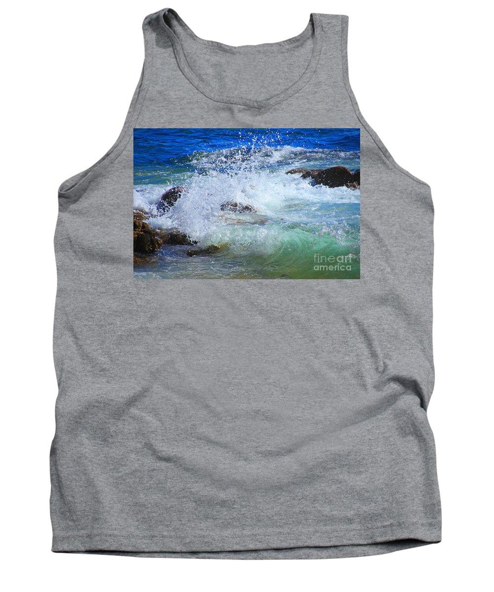 Splash Tank Top featuring the photograph Salt Water Serenade by Kris Hiemstra