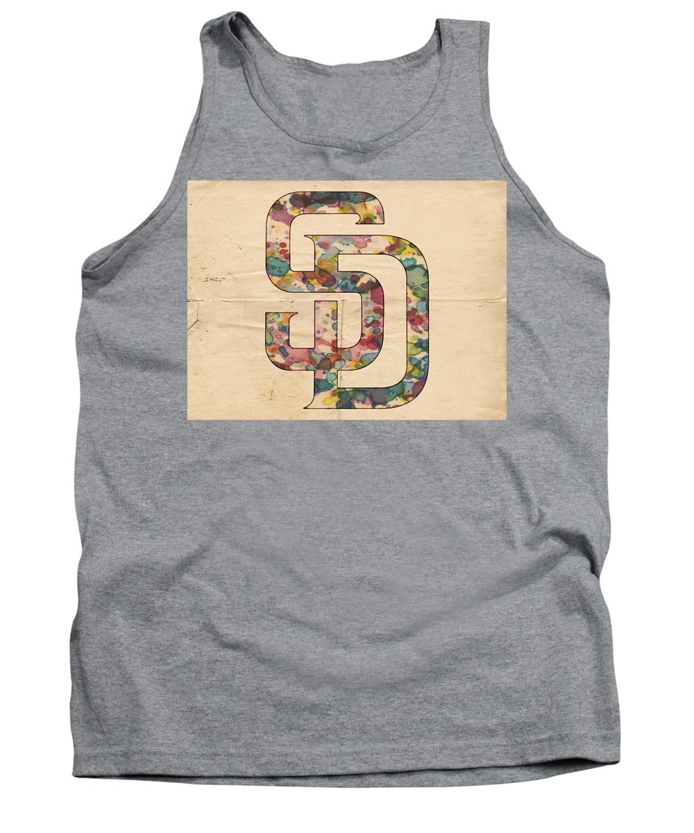 San Diego Padres Tank Top featuring the painting San Diego Padres Logo Vintage by Florian Rodarte