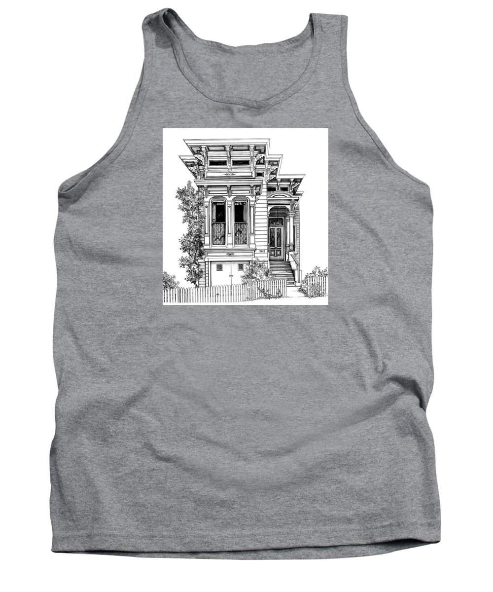 Pen And Ink Tank Top featuring the drawing San Fracisco Victorian2 by Mary Palmer