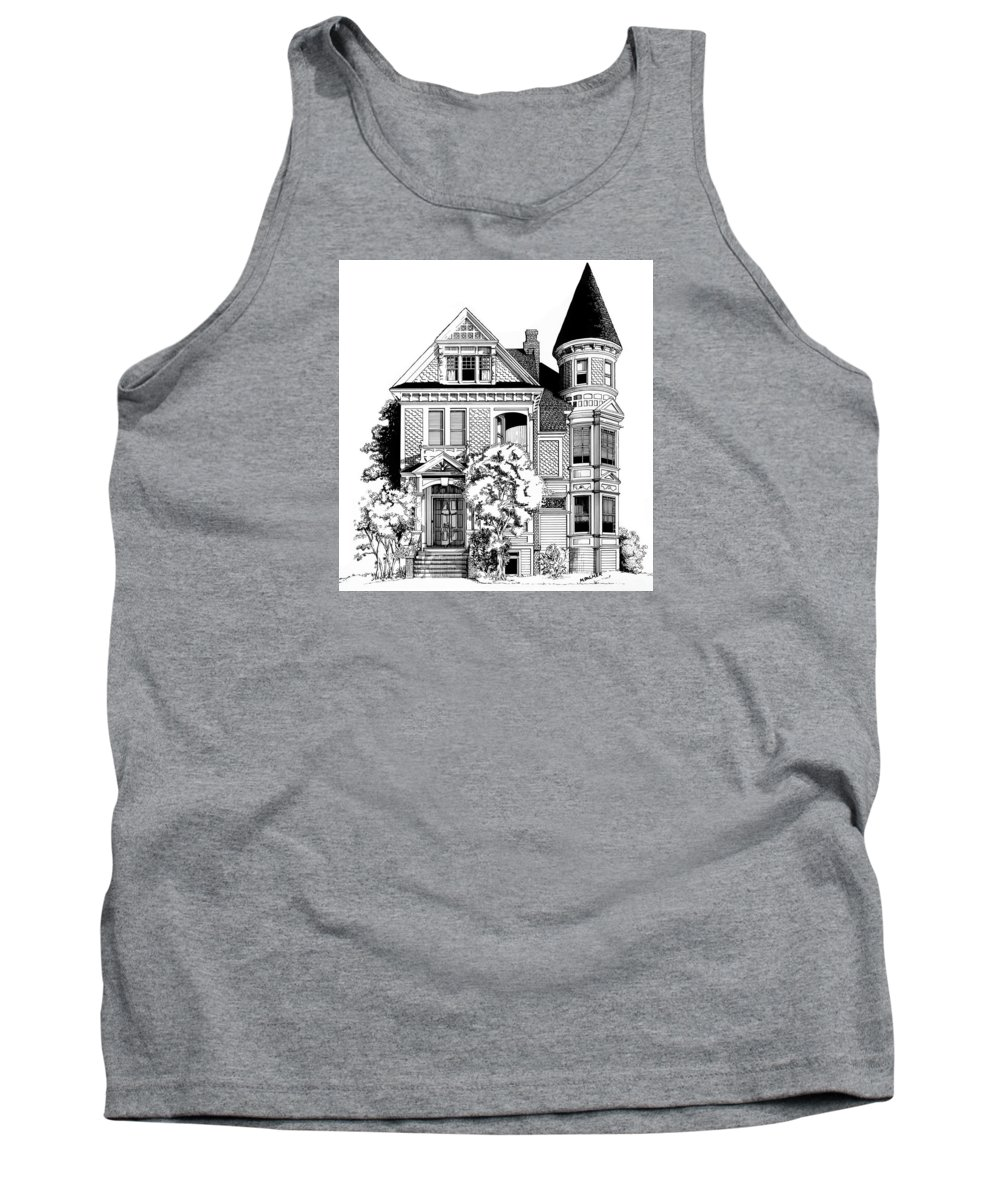 Pen And Ink Tank Top featuring the drawing San Francisco Victorian by Mary Palmer