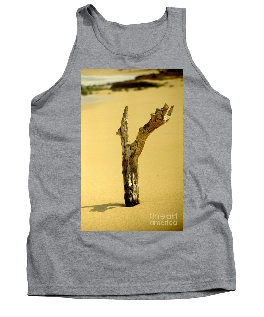 Sand Tank Top featuring the photograph Sand And Wood by Jussta Jussta