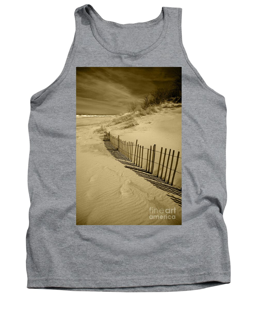 Sand Dunes Tank Top featuring the photograph Sand Dunes And Fence by Timothy Johnson