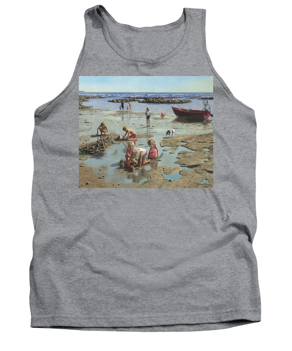 Landscape Tank Top featuring the painting Sandcastles by Richard Harpum