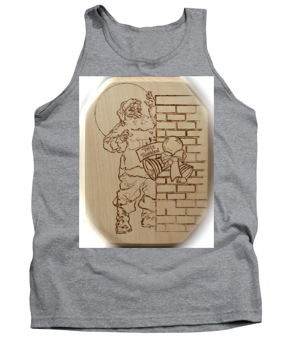Pyrography Tank Top featuring the pyrography Santa Claus - Feliz Navidad by Sean Connolly