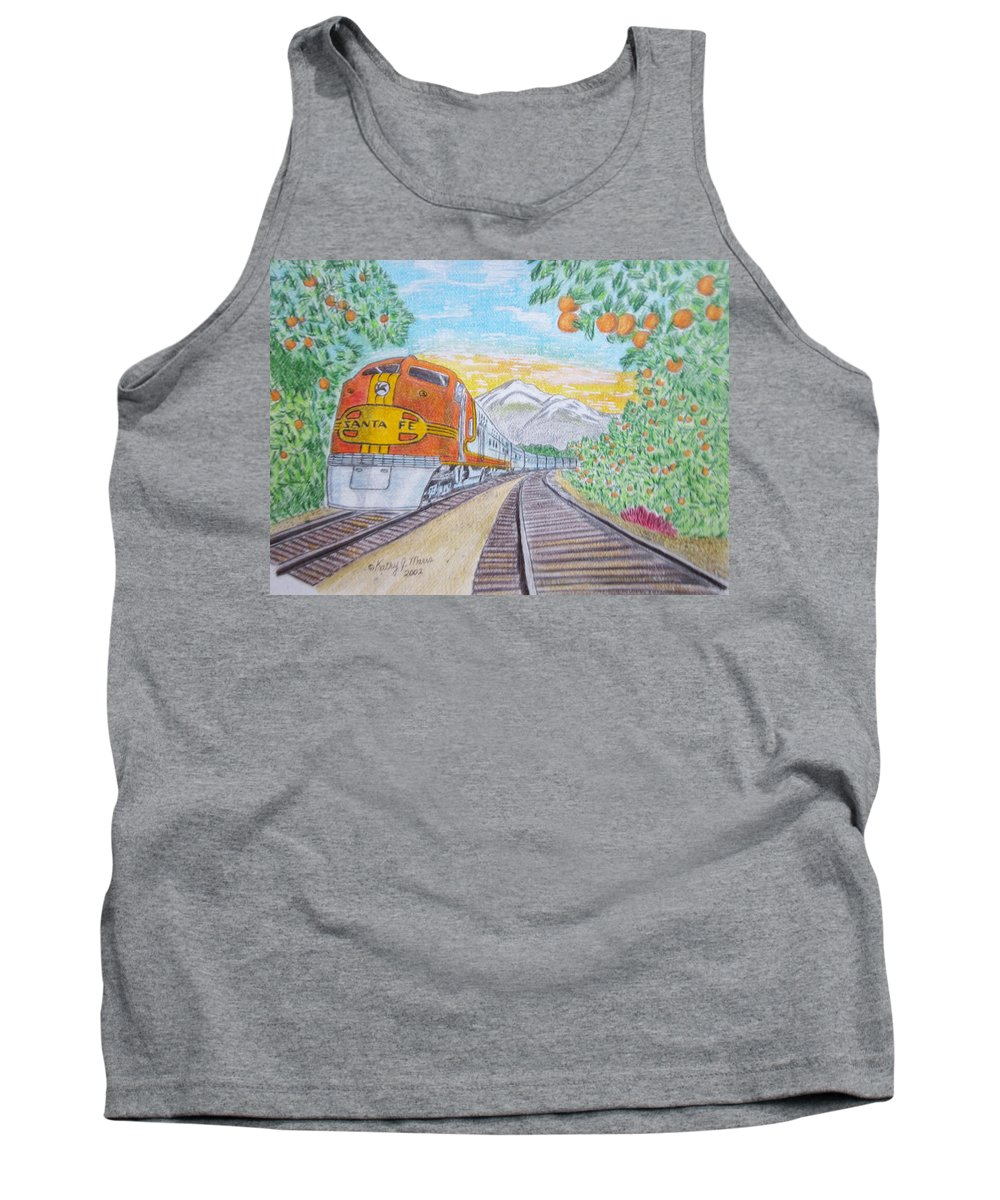 Santa Fe Tank Top featuring the painting Santa Fe Super Chief Train by Kathy Marrs Chandler