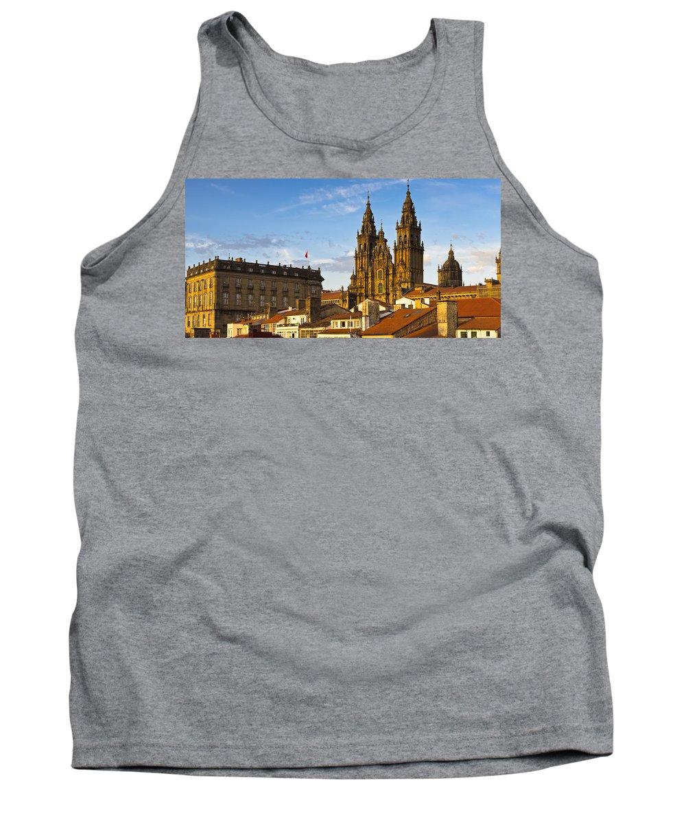 Panorama Tank Top featuring the photograph Santiago De Compostela Cathedral Galicia Spain by Pablo Avanzini