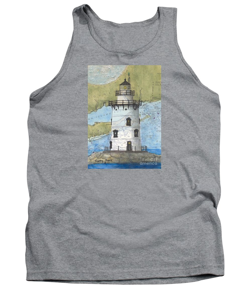 Saybrook Tank Top featuring the painting Saybrook Lighthouse Ct Chart Map Art by Cathy Peek