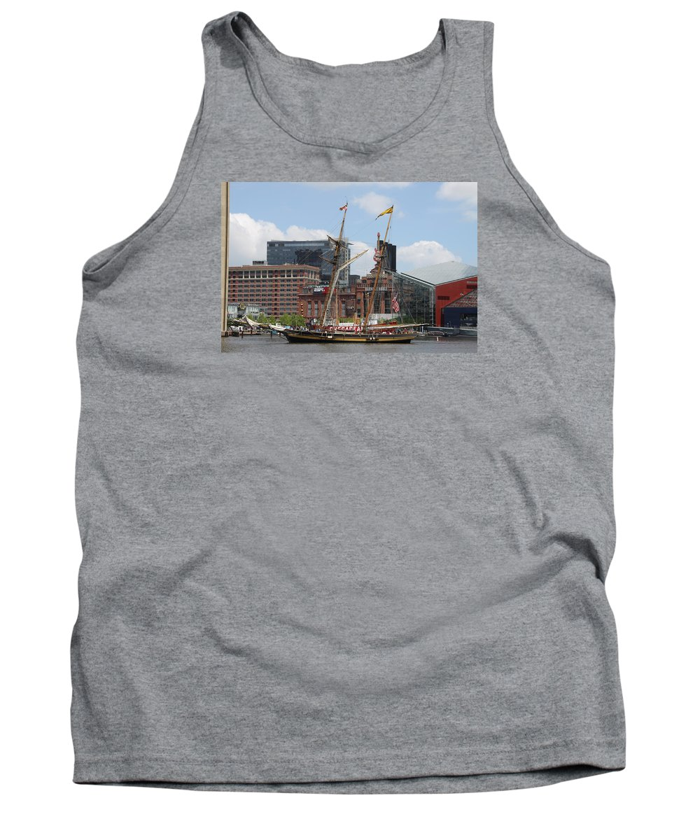 Harbor Tank Top featuring the photograph Schooner Arriving At Baltimore Inner Harbor by Christiane Schulze Art And Photography