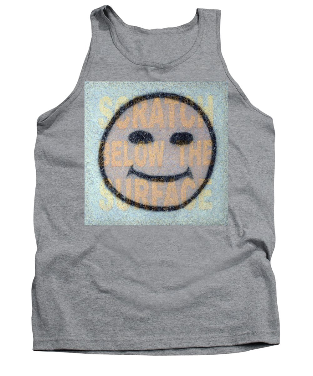 Happy Face Tank Top featuring the painting Scratch Below The Surface by James W Johnson