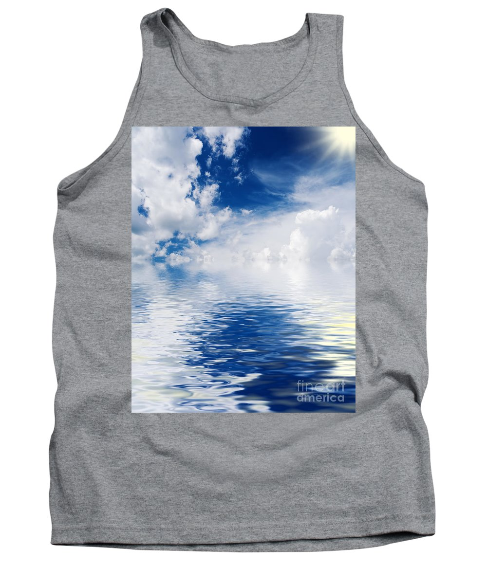 Abstract Tank Top featuring the photograph Sea Sun And Clouds by Antonio Scarpi