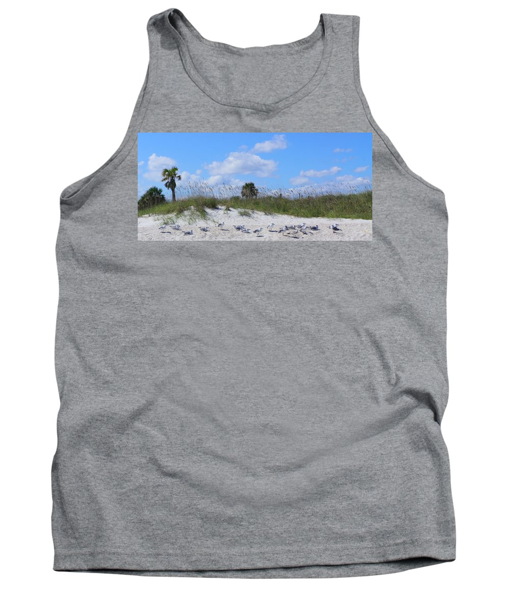 Cloud Tank Top featuring the photograph Seagull Siesta by Monica Stouder