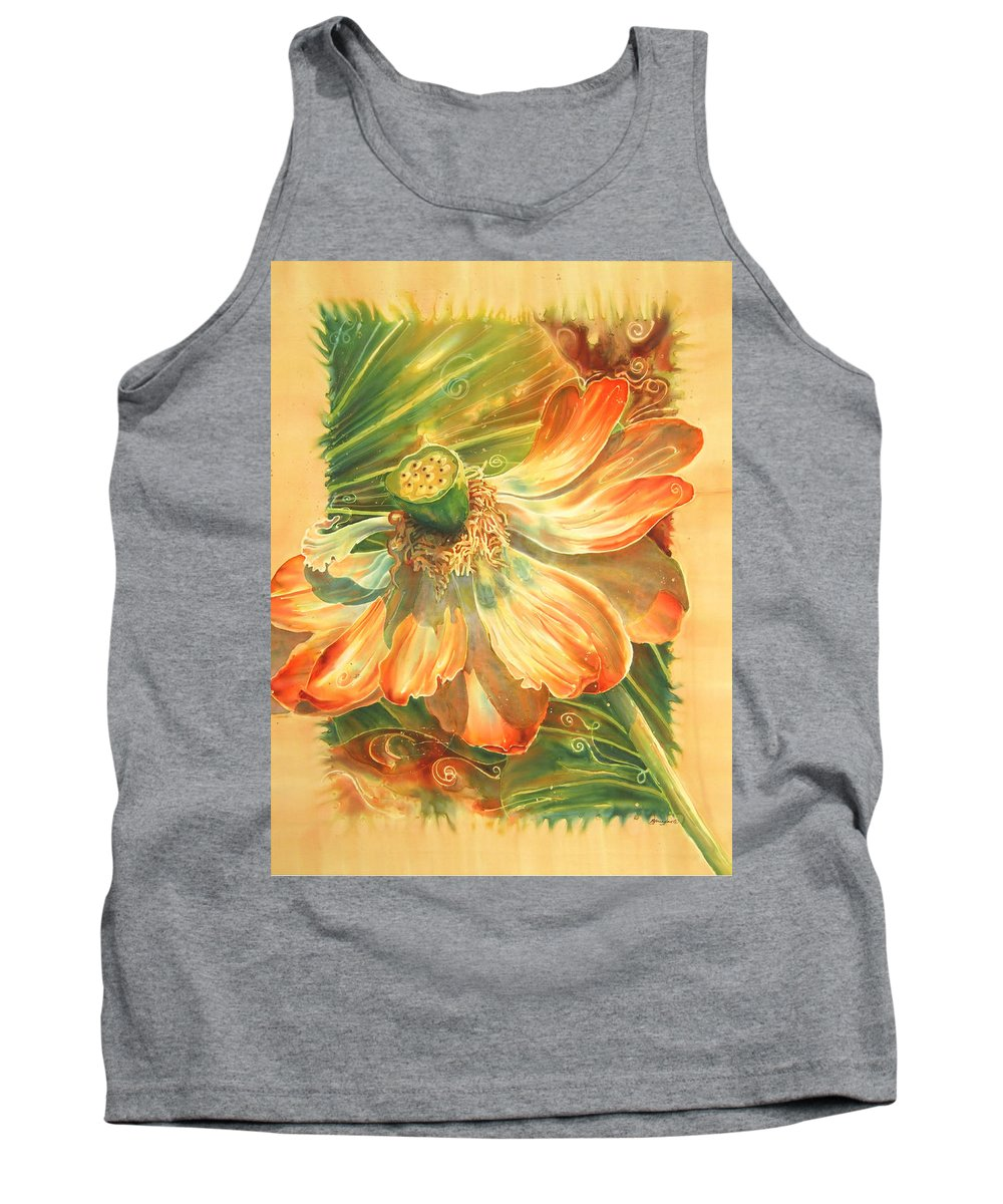 Flower Tank Top featuring the painting Season's End by Deborah Younglao