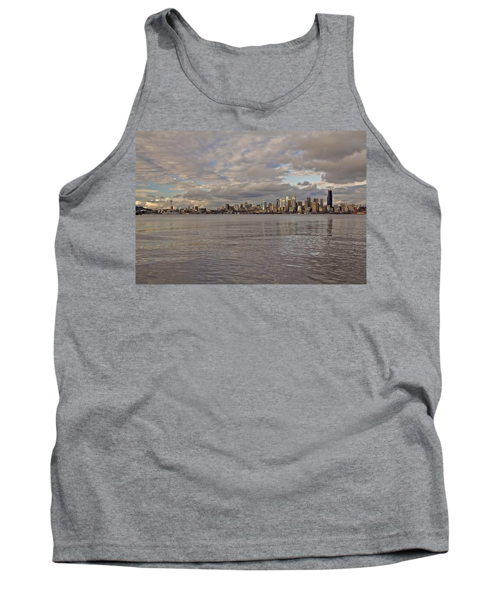 Beach Tank Top featuring the photograph Seattle Cityscape In Clouds by SC Heffner