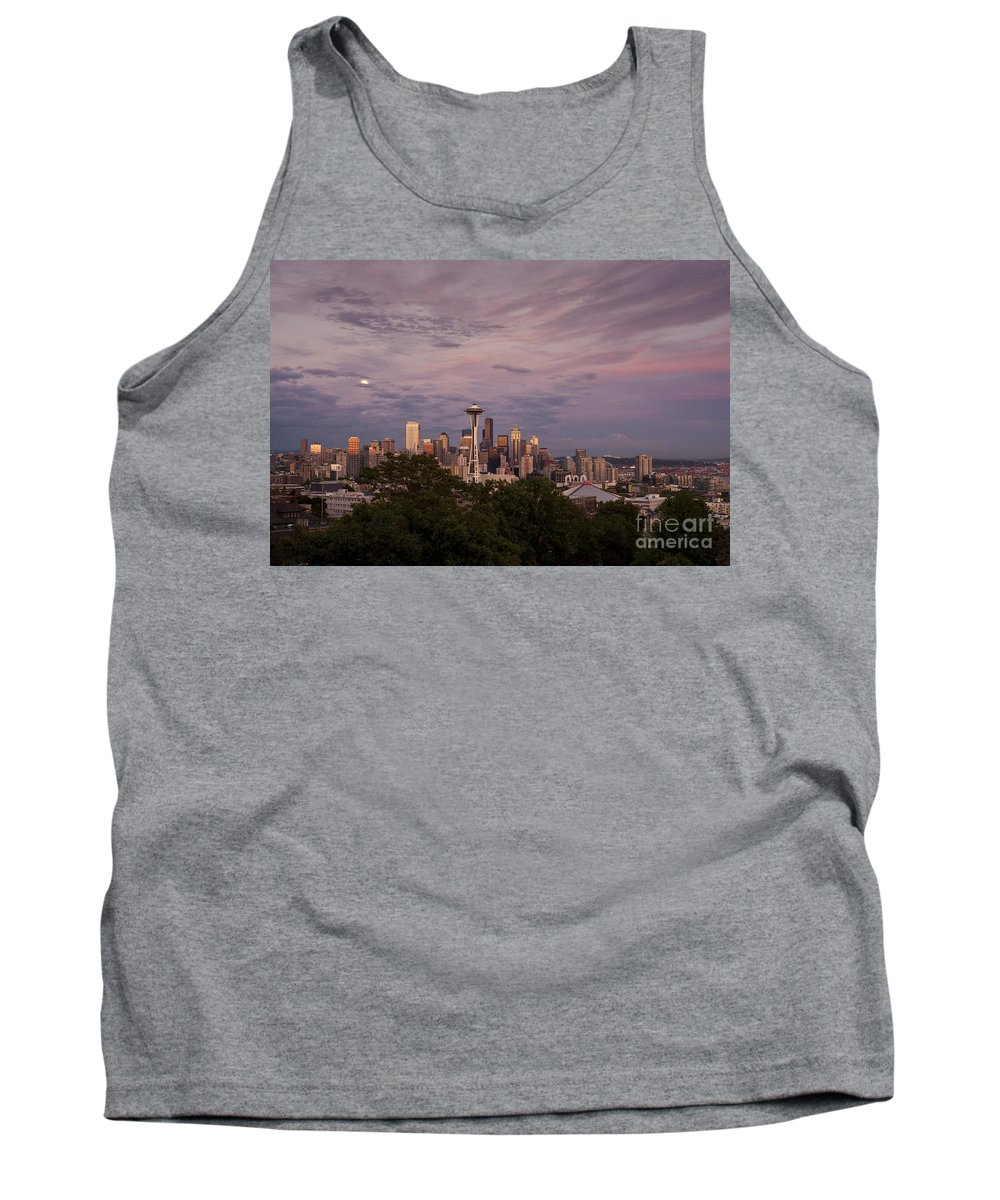 Kerry Park Tank Top featuring the photograph Seattle Skyline With Moonrise And Space Needle by Jim Corwin
