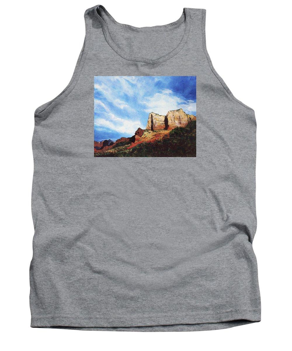 Sedona Arizona Tank Top featuring the painting Sedona Mountains by Mary Palmer