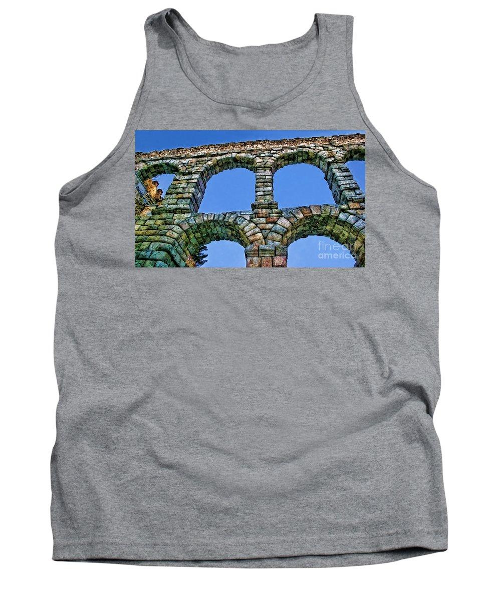 Segovia Tank Top featuring the photograph Segovia Aqueducts Blue By Diana Sainz by Diana Raquel Sainz