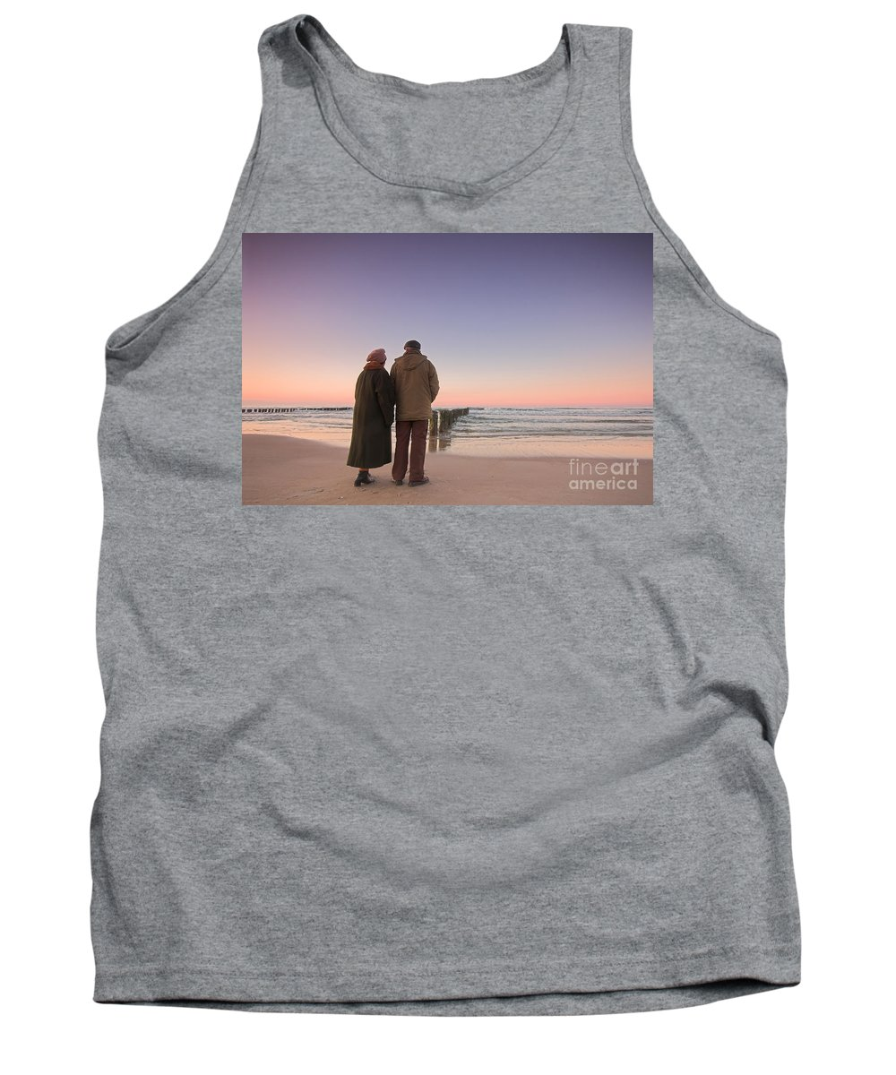 Abstract Tank Top featuring the photograph Seniors' Love And Ocean by Michal Bednarek