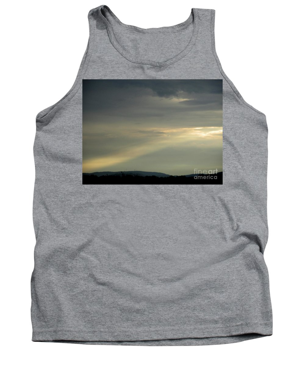 Natural Skyline Natural Skyscapes Natural Sky Sunlight September Sunbeam Sunrays Atmospheric Illumination Light Column Natural Lightscapes September Storm Light Stormy Skies Tank Top featuring the photograph September Sunbeam by Joshua Bales