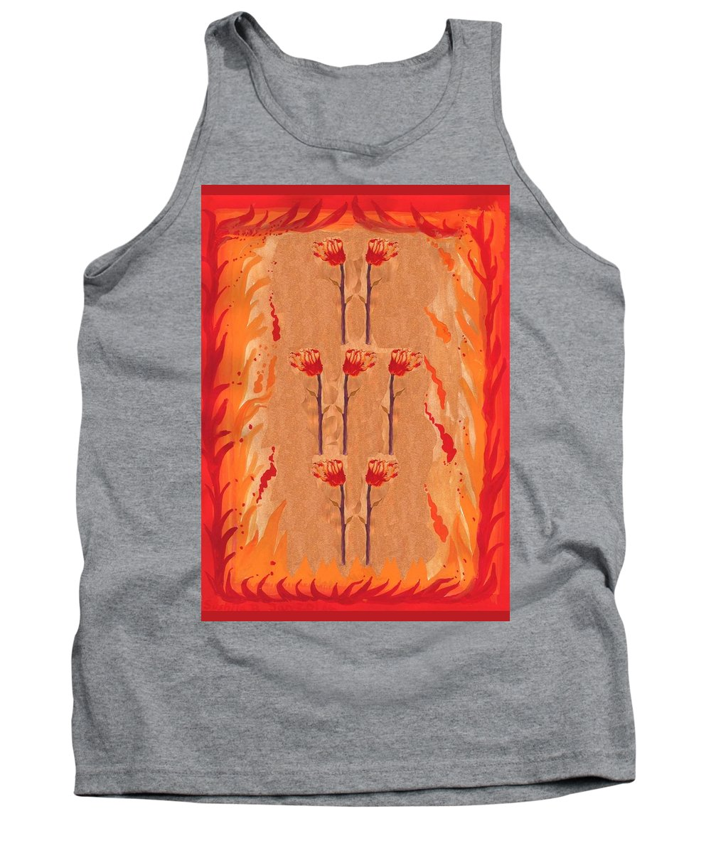Tarot Tank Top featuring the painting Seven Of Wands by Sushila Burgess