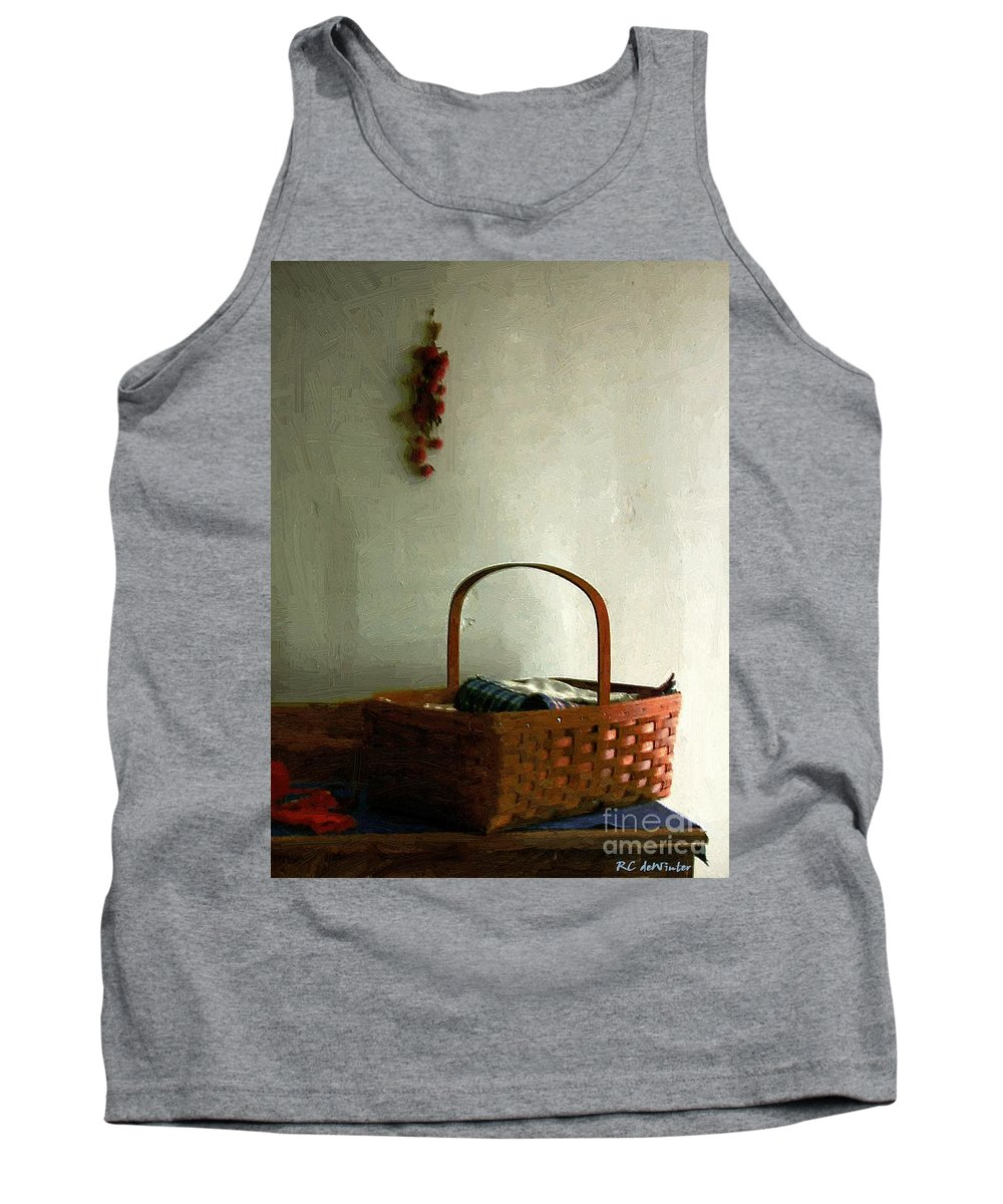 Americana Tank Top featuring the painting Sewing Basket In Sunlight by RC DeWinter
