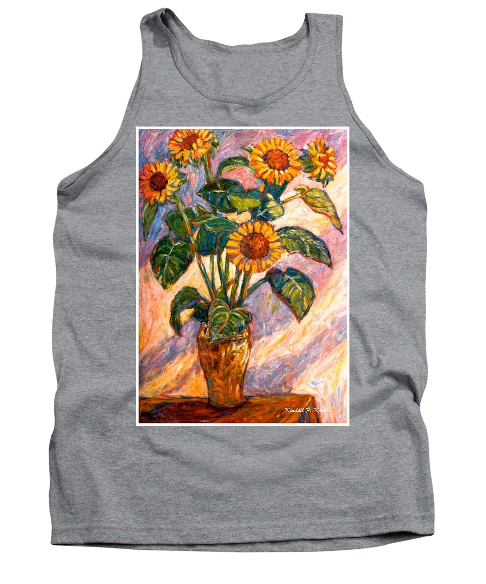 Floral Tank Top featuring the painting Shadows On Sunflowers by Kendall Kessler