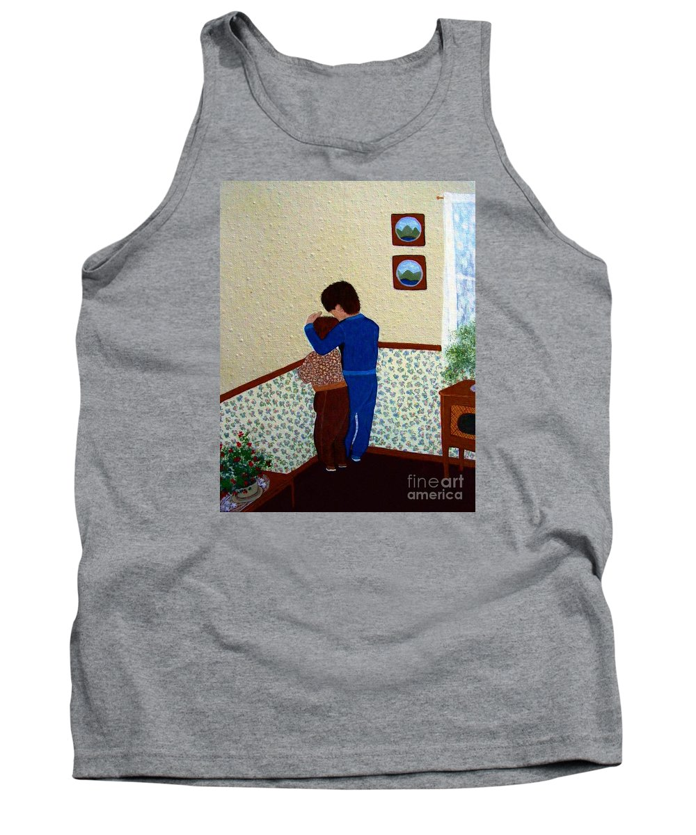 Barbara Griffin Tank Top featuring the painting Sharing The Punishment by Barbara Griffin