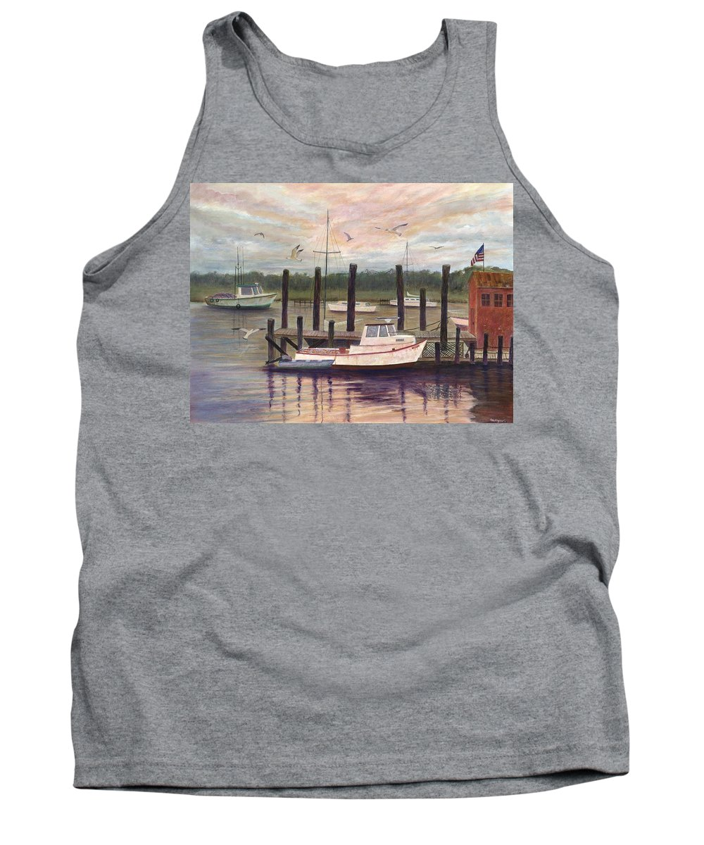 Charleston; Boats; Fishing Dock; Water Tank Top featuring the painting Shem Creek by Ben Kiger