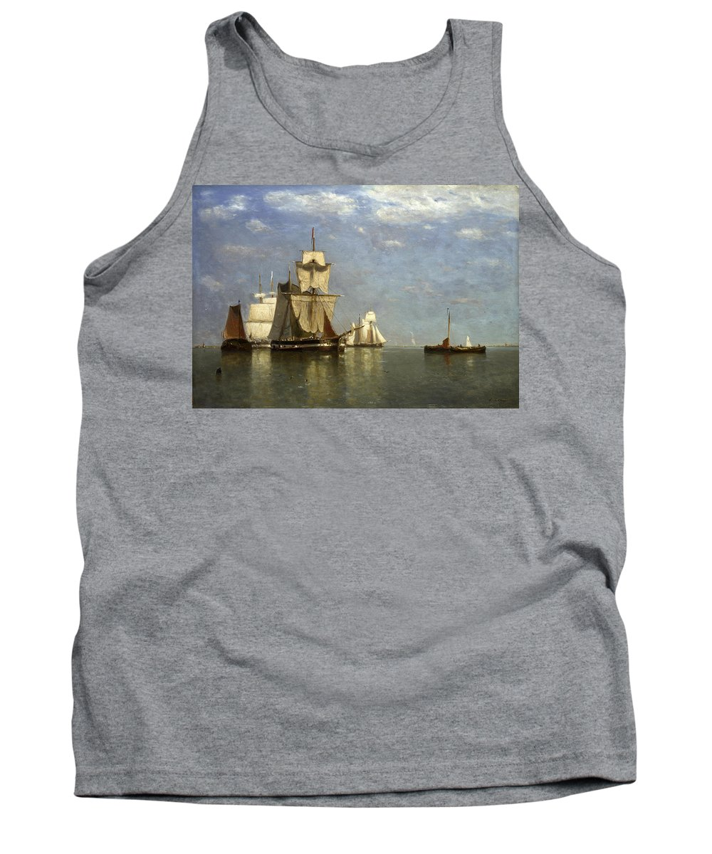 Paul Jean Clays Tank Top featuring the painting Ships Lying Off Flushing by Paul Jean Clays