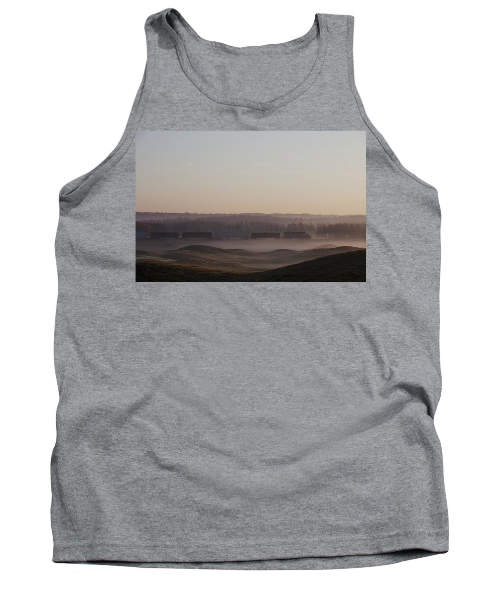 Canada Tank Top featuring the photograph Shortline Freight Train In The Fog by Ron Bouwhuis